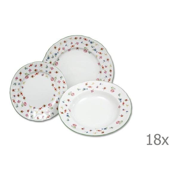 Sada 18 porcelánových talířů s motivem květin Thun Bernadotte