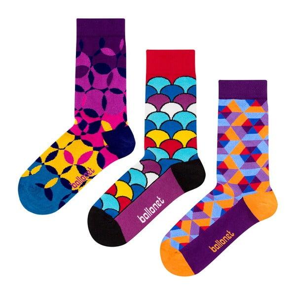 Zestaw 3 par skarpetek Ballonet Socks Geo w opakowaniu podarunkowym, rozmiar 41 - 46