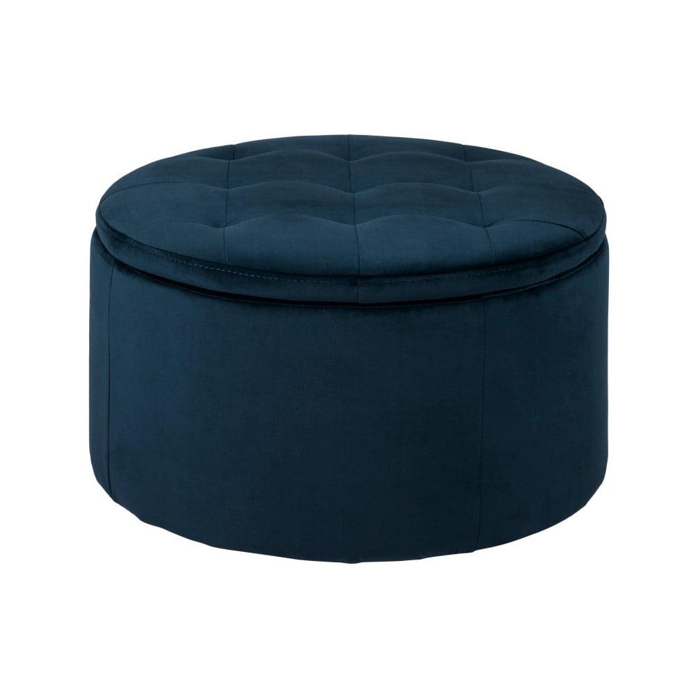 Tmavě modrý otoman s úložným prostorem Actona Vic, ⌀ 60 cm Actona