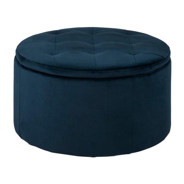 Otoman cu spațiu pentru depozitare Actona Vic, ⌀ 60 cm, albastru închis