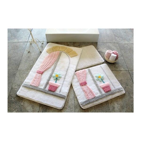Knit Knot 3 darabos rózsaszín fürdőszobai kilépő szett ablak motívummal