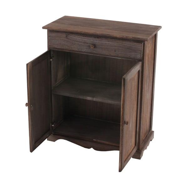 Hnědá dřevěná komoda se zásuvkou a dvířky Mendler Shabby