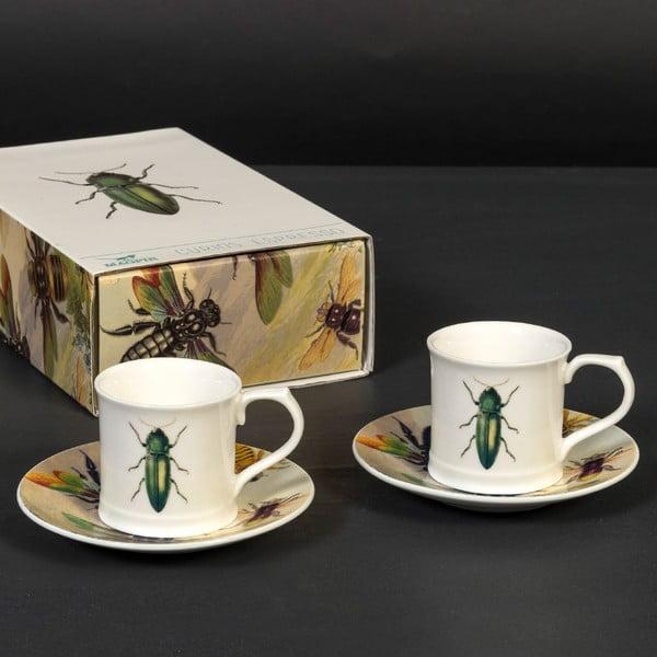 Sada 2 šálků s podšálky Curious Green Beetle