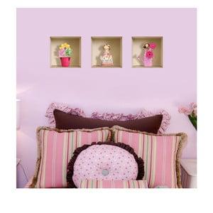 3D samolepky na zeď Nisha Funny Flowers, 3 ks