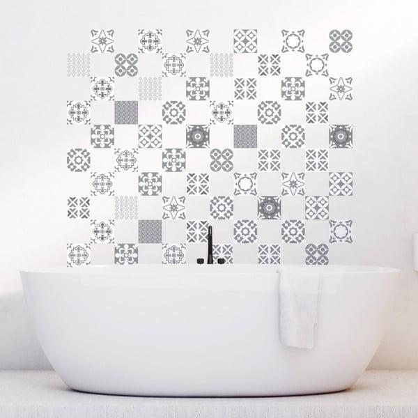 Sada 60 nástenných samolepiek Ambiance Artistic Shade of Gray, 10 × 10 cm