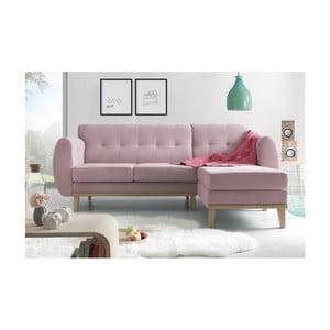 Canapea cu șezlong pe partea dreaptă Bobochic Paris Viking, roz deschis