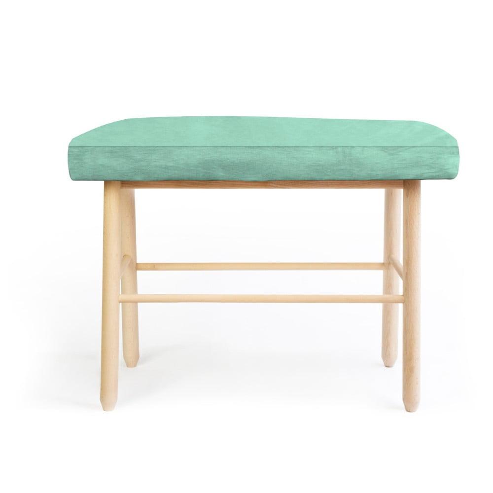 Stolička z borovicového dřeva se zeleným sametovým potahem Velvet Atelier