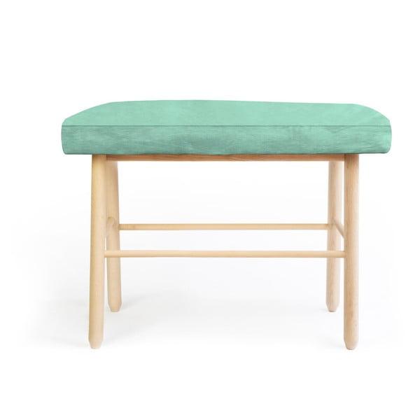 Fenyőfa kisszék zöld bársony kárpittal, - Velvet Atelier