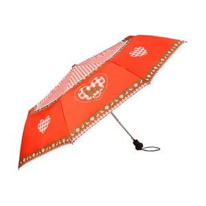 Červený skládací deštník Von Lilienfeld Deer and Heart