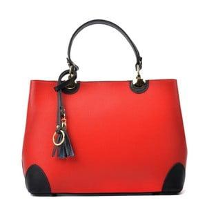 Červená kožená kabelka s černými detaily Isabella Rhea Mismo