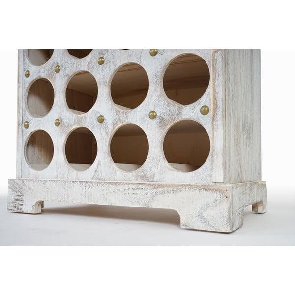 Bílý dřevěný stojan na 20 lahví vína Mendler Shabby Torre