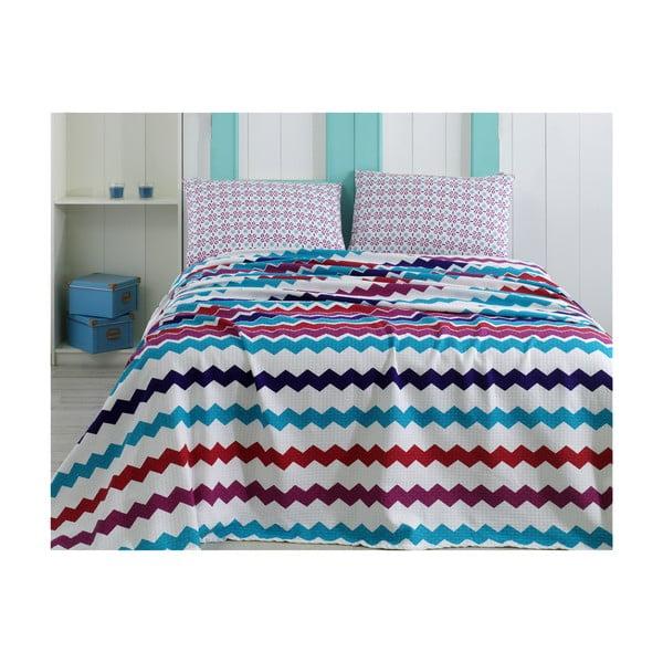 Lehký přehoz s polštáři a prostěradlem Zigzag, 220x240 cm