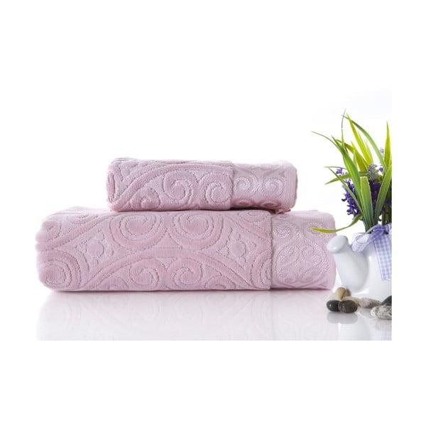 Set dvou ručníků Hanzade Pink, 70x140 a 50x90 cm