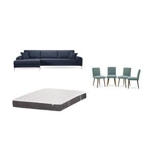 Set tmavě modré pohovky s lenoškou vlevo, 4šedozelených židlí a matrace 160 x 200 cm Home Essentials