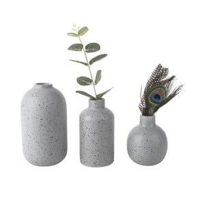 Sada 3 šedých keramických váz PT LIVING Dotted