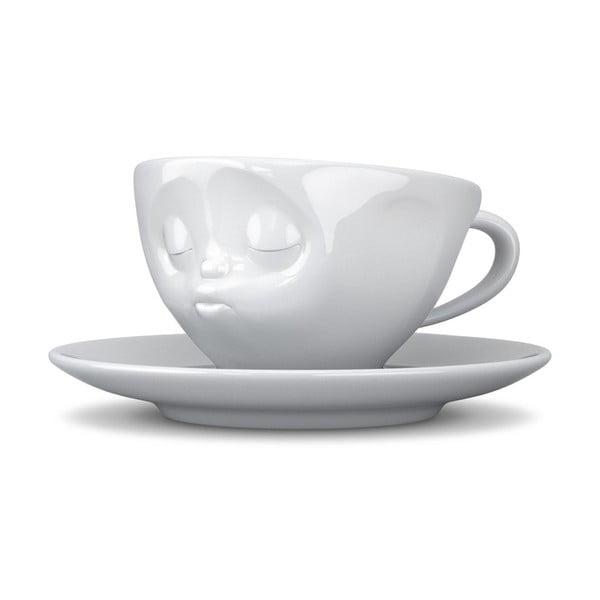 Líbající hrnek na kávu, bílý z kavárny U Kubistů
