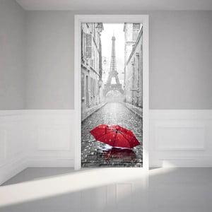 Autocolant pentru ușă Ambiance Eifel Tower And Umbrella