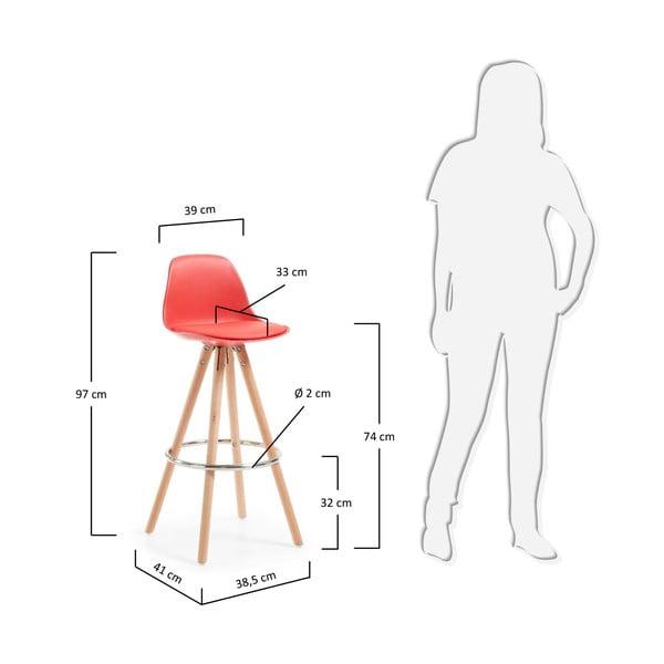 Červená barová židle s dřevěným podnožím La Forma Stag