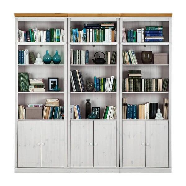 Bílá knihovna s hnědými detaily z borovicového masivu Støraa Annabelle, šířka219cm