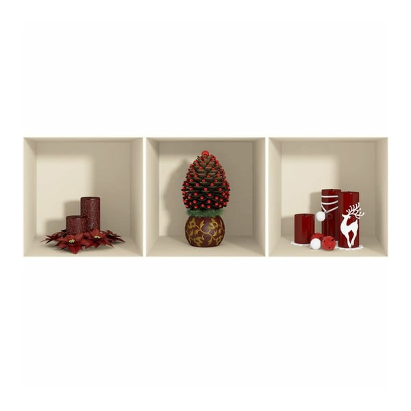 Samolepka Fanastick 3D Effect Red Candles and Christmas Tree