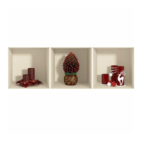 Sada 3 vánočních samolepek s 3D efektem Fanastick Red Candles and Christmas Tree