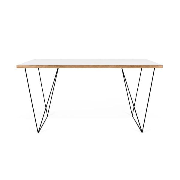 Bílý pracovní stůl s černými nohami TemaHome Flow, délka140cm