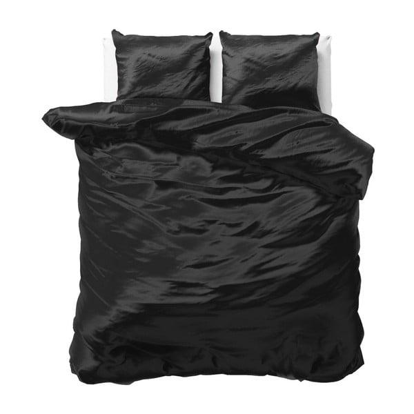 Čierne obliečky zo saténového mikroperkálu na dvojlôžko Sleeptime, 200 x 220 cm