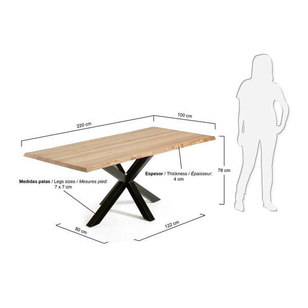 Jídelní stůl s černým podnožím La Forma Arya Natural,délka220cm