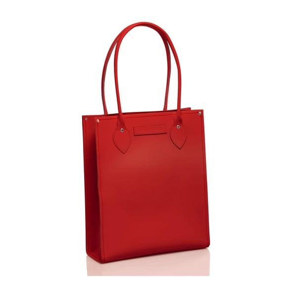 Kožená taška Tote, červená