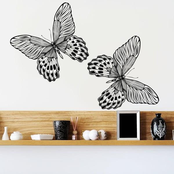 Dekorativní samolepka na zeď Dva černí motýlové