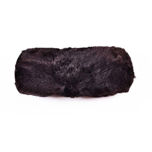 Kožešinový podhlavník Blacky, 15x50 cm