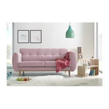 Canapea cu 3 locuri Bobochic Paris Viking roz deschis