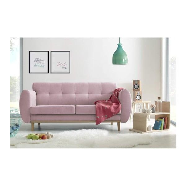 Světle růžová třímístná pohovka Bobochic Paris Viking