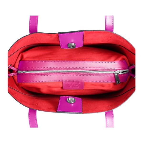 Fuchsiová kožená kabelka Lampoo Missia