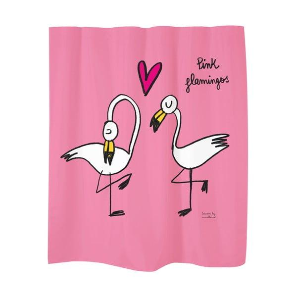Sprchový závěs Flamingos Pink