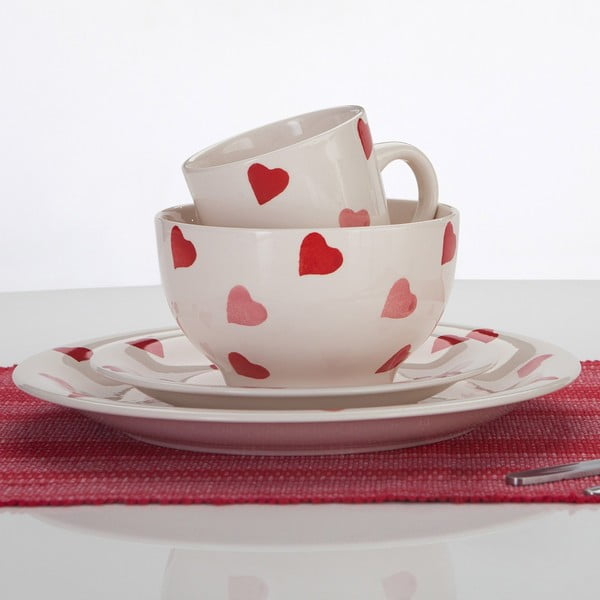 Porcelánový set Hearts, 16 ks