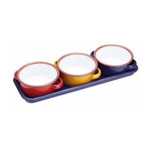 Set 3 smaltovaných zapékacích mističek s podnosem Kitchen Craft World Of Flavours