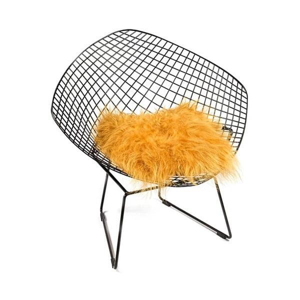 Pernă din blană cu fir lung pentru scaun Loren, 37 x 37 cm, portocaliu
