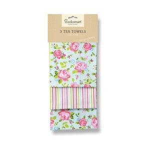 Sada 3 bavlněných utěrek Cooksmart England Florals