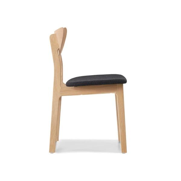 Sada 2 jídelních židlí z masivního dubového dřeva s černým sedákem WOOD AND VISION Chief Maestro
