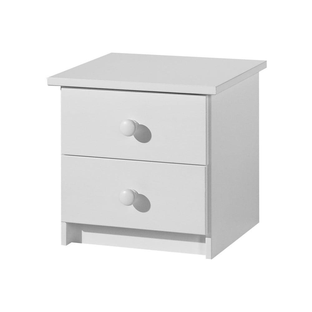 Bílý noční stolek z masivního borovicového dřeva Pinio Baby
