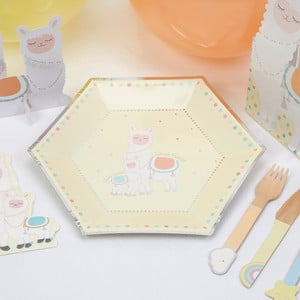 Sada 8 papírových talířů Neviti Llama Love
