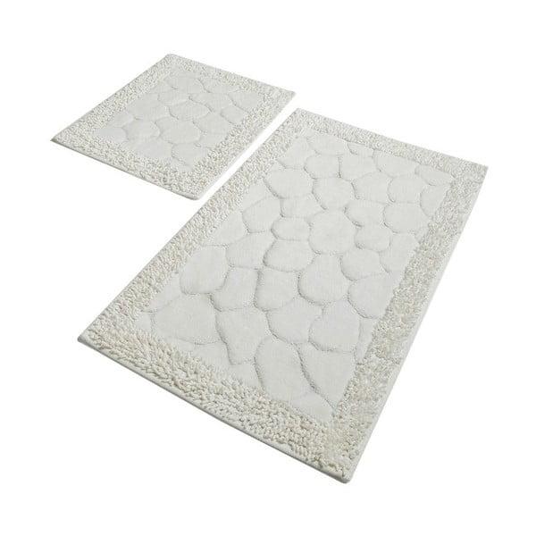 Sada 2 šedých bavlněných koupelnových předložek Confetti Bathmats Stone Ecru