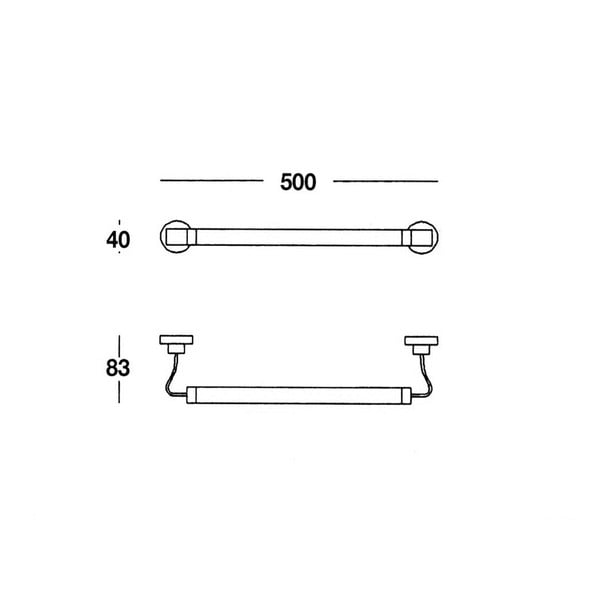 Držák na ručníky Chromo, 50x4x8 cm