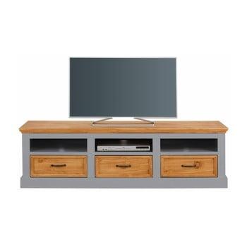 Comodă TV din lemn de pin cu 3 sertare Støraa Suzie, gri-maro de la Støraa