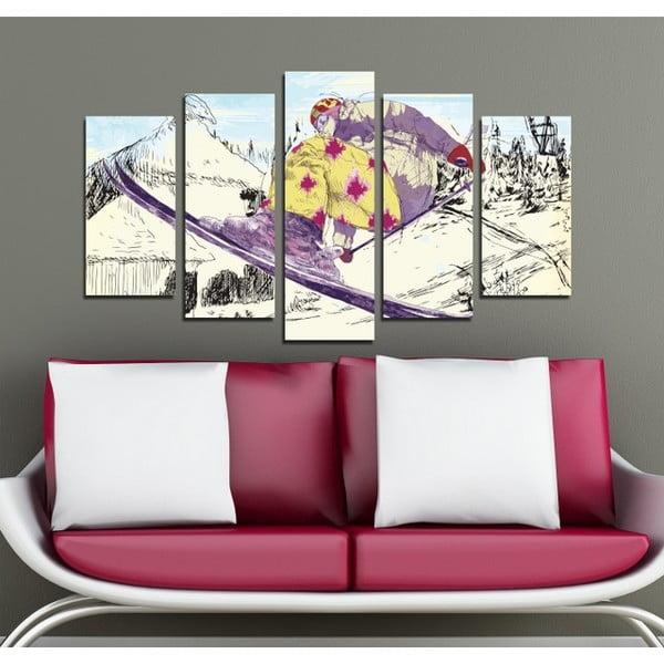 5dílný obraz Na lyžích
