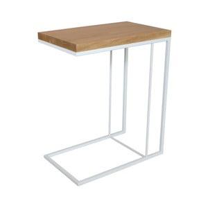 Bílý odkládací stolek s deskou z dubového dřeva Take Me HOME Felix, 50x30cm
