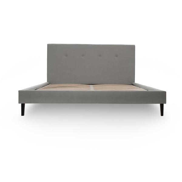 Světle šedá postel s černými nohami Vivonita Kent,140x200cm