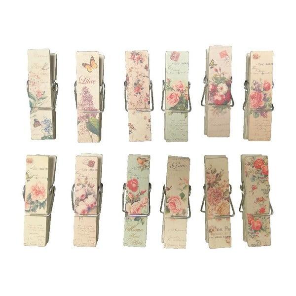 Sada 12 kolíčků na prádlo Antic Line Romantic