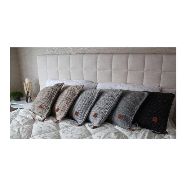 Pletený polštář Catness, šedý, 50x50 cm